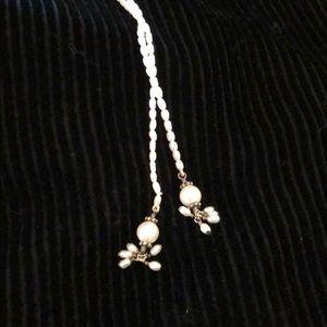 Jewelry - Pearl tie necklace - small pearl tassels